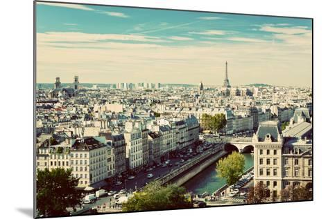 Paris Panorama, France. View on Eiffel Tower and Seine River from Notre Dame Cathedral. Vintage, Re-Michal Bednarek-Mounted Photographic Print