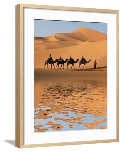 Camel Caravan Going along the Lake the Sahara Desert, Morocco.-Vladimir Wrangel-Framed Art Print