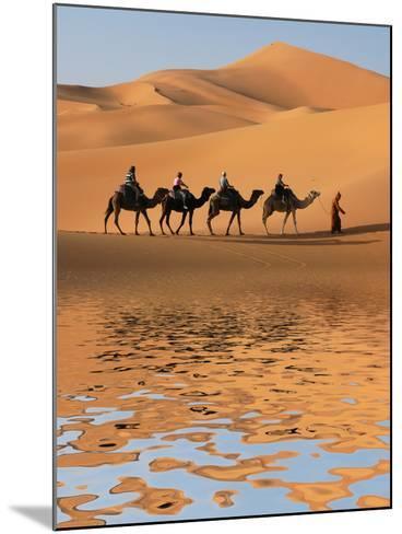 Camel Caravan Going along the Lake the Sahara Desert, Morocco.-Vladimir Wrangel-Mounted Photographic Print