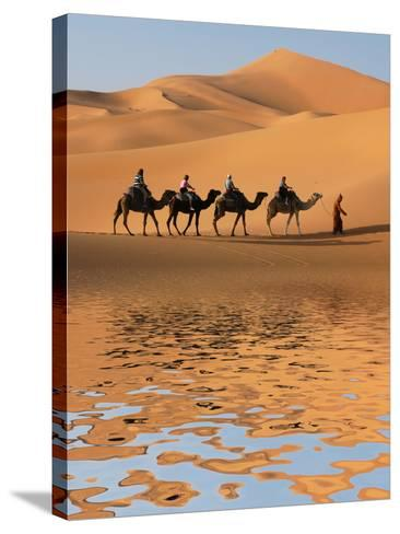Camel Caravan Going along the Lake the Sahara Desert, Morocco.-Vladimir Wrangel-Stretched Canvas Print