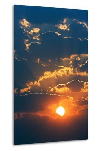 Colourful Sunrise Creating Golden Edges around Clouds-Johan Swanepoel-Metal Print