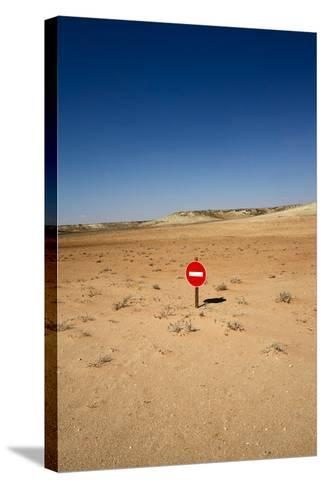No-Entry Sign in the Desert-Johan Swanepoel-Stretched Canvas Print