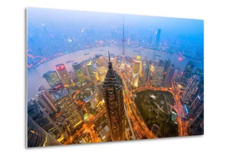 Elevated Night View of Shanghai`S Skyline.-r nagy-Metal Print