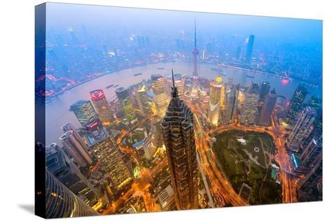 Elevated Night View of Shanghai`S Skyline.-r nagy-Stretched Canvas Print