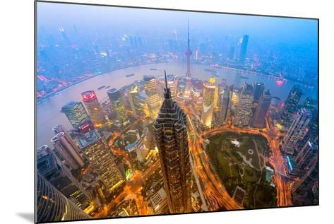 Elevated Night View of Shanghai`S Skyline.-r nagy-Mounted Photographic Print