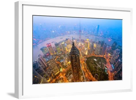 Elevated Night View of Shanghai`S Skyline.-r nagy-Framed Art Print