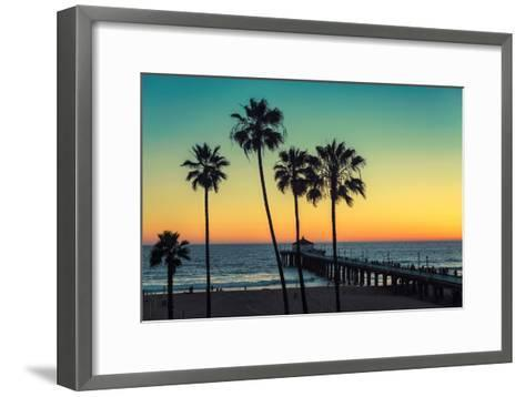Palm Trees at Manhattan Beach. Vintage Processed. Fashion Travel and Tropical Beach Concept.-lucky-photographer-Framed Art Print