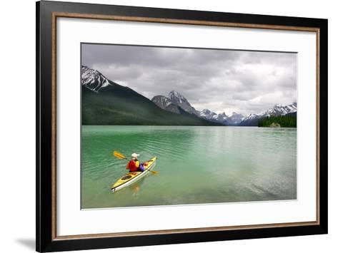 Kayaking in Banff National Park, Canada- oksana perkins-Framed Art Print