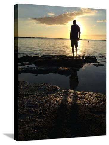 Man Silhouette Beach Rocks Mauritius Sunset-Tinus Potgieter-Stretched Canvas Print