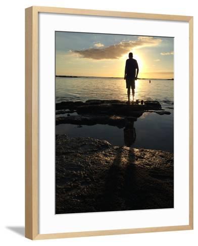 Man Silhouette Beach Rocks Mauritius Sunset-Tinus Potgieter-Framed Art Print