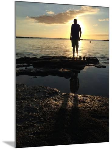 Man Silhouette Beach Rocks Mauritius Sunset-Tinus Potgieter-Mounted Photographic Print