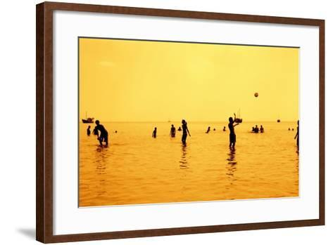 Silhouettes of People Playing Games in the Sea Full of Sailing-Ship-Dimitar Yalamov-Framed Art Print