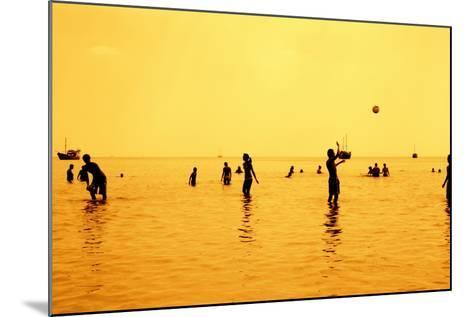 Silhouettes of People Playing Games in the Sea Full of Sailing-Ship-Dimitar Yalamov-Mounted Photographic Print