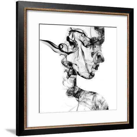 Double Exposure Portrait of Young Woman and Cigarette Smoke.-Vladimir Sazonov-Framed Art Print