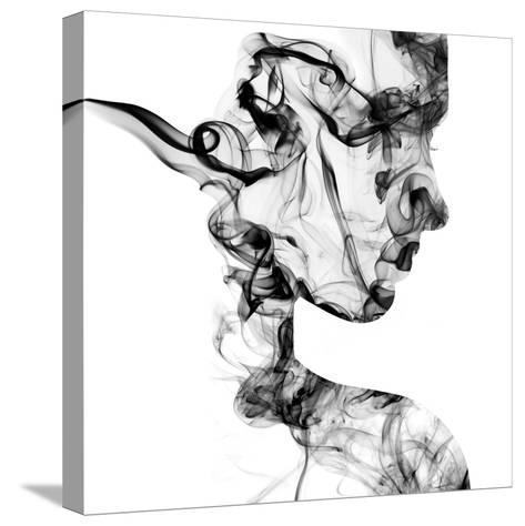 Double Exposure Portrait of Young Woman and Cigarette Smoke.-Vladimir Sazonov-Stretched Canvas Print