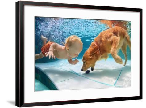Funny Little Child Play with Fun and Train Golden Labrador Retriever Puppy in Swimming Pool, Jump A-Tropical studio-Framed Art Print