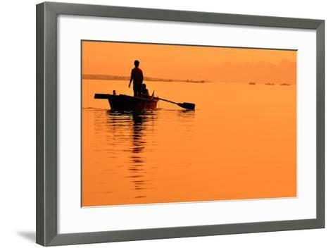 Two Boys in a Boat on the Ganges- itsmejust-Framed Art Print