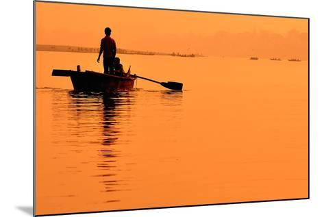 Two Boys in a Boat on the Ganges- itsmejust-Mounted Photographic Print