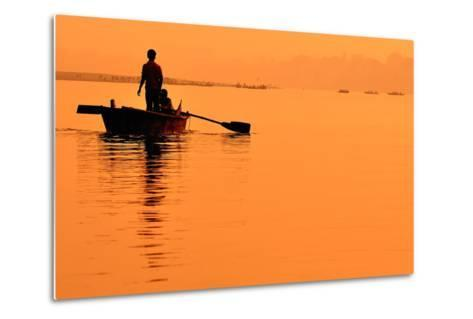 Two Boys in a Boat on the Ganges- itsmejust-Metal Print