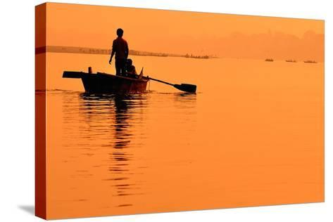 Two Boys in a Boat on the Ganges- itsmejust-Stretched Canvas Print