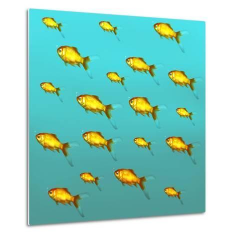 Illustrative Background of Many Red Freshwater Fish-Valentina Photos-Metal Print