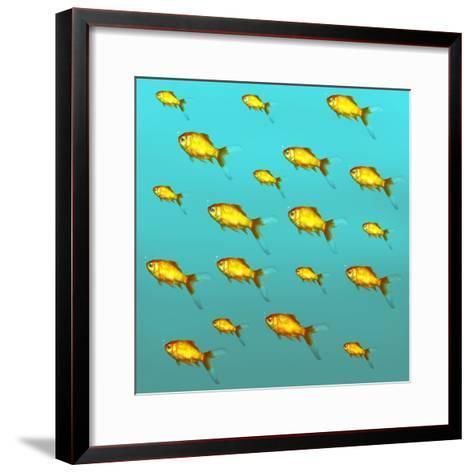 Illustrative Background of Many Red Freshwater Fish-Valentina Photos-Framed Art Print