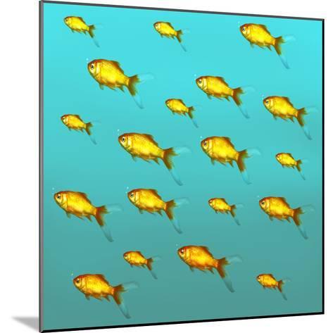 Illustrative Background of Many Red Freshwater Fish-Valentina Photos-Mounted Photographic Print