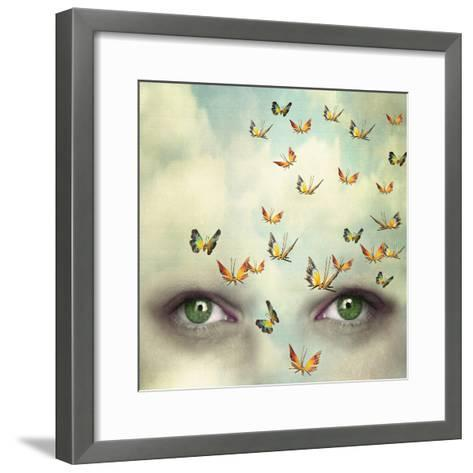 Two Eyes with the Sky and So Many Butterflies Flying on the Forehead-Valentina Photos-Framed Art Print