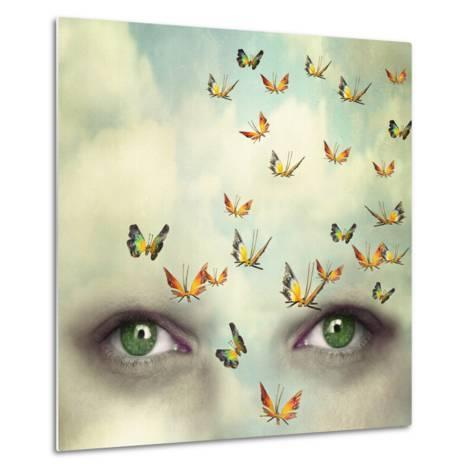 Two Eyes with the Sky and So Many Butterflies Flying on the Forehead-Valentina Photos-Metal Print