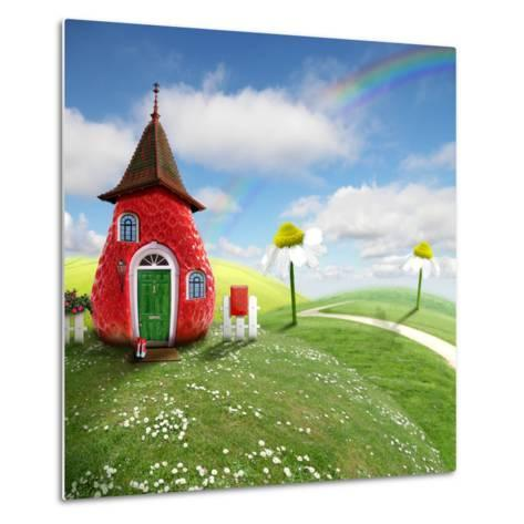 Nice Picture-Collage with a Pretty Strawberry Shack- Oxa-Metal Print