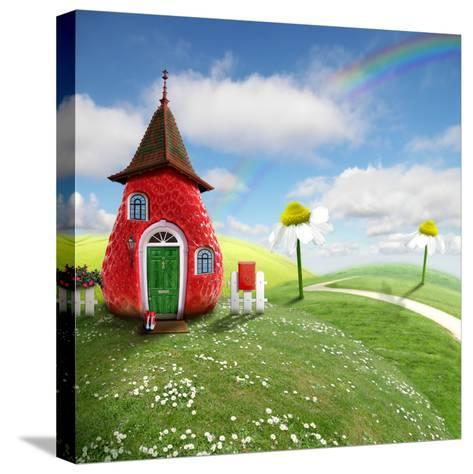 Nice Picture-Collage with a Pretty Strawberry Shack- Oxa-Stretched Canvas Print