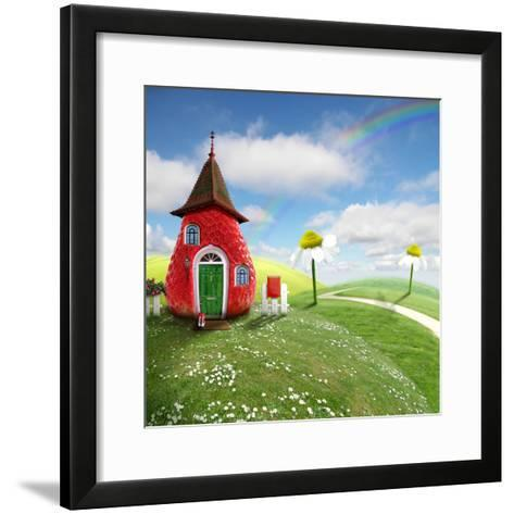 Nice Picture-Collage with a Pretty Strawberry Shack- Oxa-Framed Art Print
