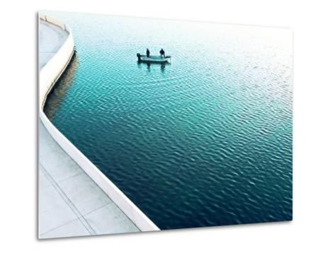 Two Men Fishing on a Lake in a Very Contemporary Urban Setting.-Todd Klassy-Metal Print