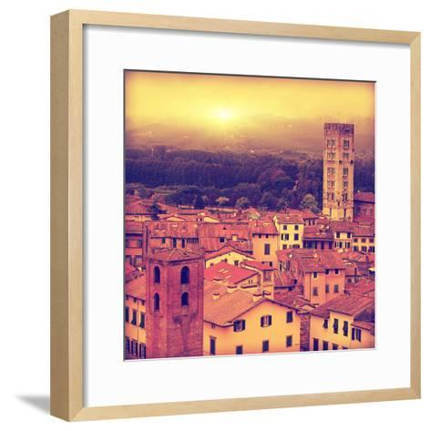 Vintage Image of Lucca at Sunset, Old Town in Tuscany.-Elenamiv-Framed Art Print