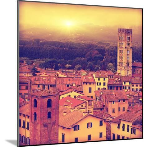 Vintage Image of Lucca at Sunset, Old Town in Tuscany.-Elenamiv-Mounted Photographic Print