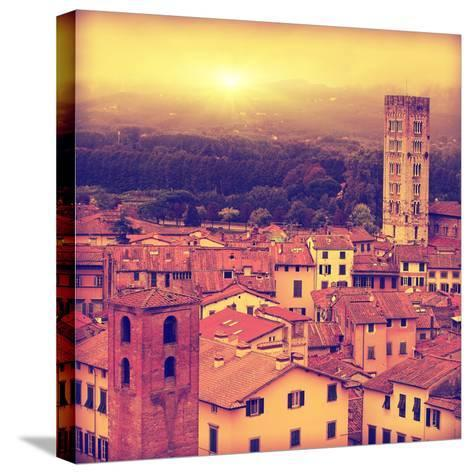 Vintage Image of Lucca at Sunset, Old Town in Tuscany.-Elenamiv-Stretched Canvas Print