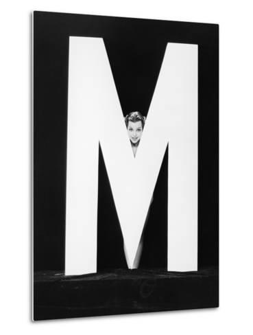Womans Face with Huge Letter M-Everett Collection-Metal Print