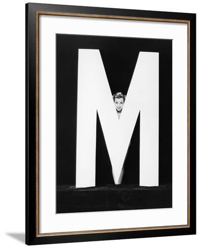 Womans Face with Huge Letter M-Everett Collection-Framed Art Print