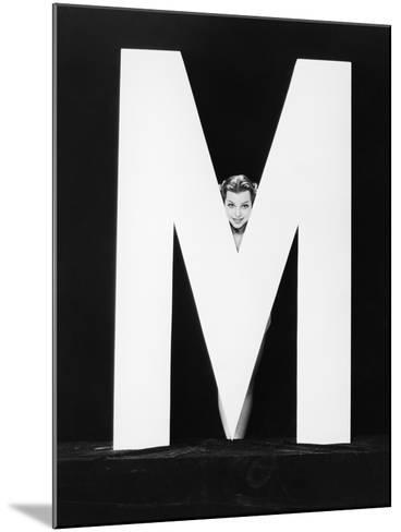 Womans Face with Huge Letter M-Everett Collection-Mounted Photographic Print