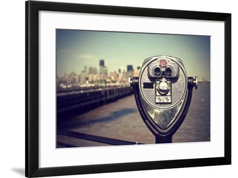Tourist Binoculars at Liberty Island in Front of Manhattan Skyline, Vintage Style, New York City, U-AR Pictures-Framed Art Print
