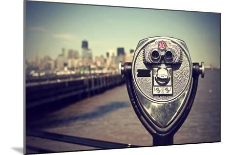 Tourist Binoculars at Liberty Island in Front of Manhattan Skyline, Vintage Style, New York City, U-AR Pictures-Mounted Photographic Print