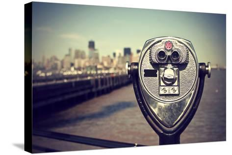 Tourist Binoculars at Liberty Island in Front of Manhattan Skyline, Vintage Style, New York City, U-AR Pictures-Stretched Canvas Print