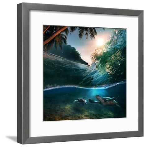 Tropical Paradise Template with Sunlight. Ocean Surfing Wave Breaking and Two Big Green Turtles Div-Willyam Bradberry-Framed Art Print