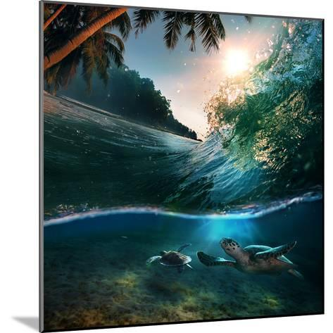 Tropical Paradise Template with Sunlight. Ocean Surfing Wave Breaking and Two Big Green Turtles Div-Willyam Bradberry-Mounted Photographic Print