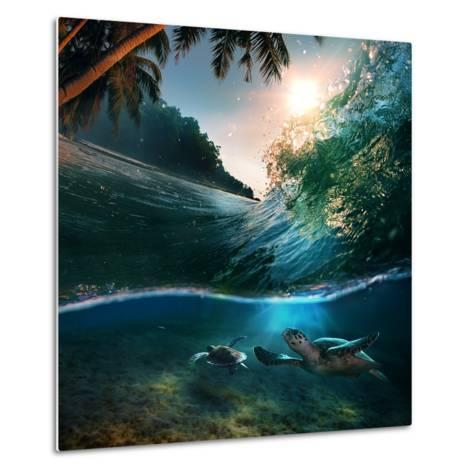 Tropical Paradise Template with Sunlight. Ocean Surfing Wave Breaking and Two Big Green Turtles Div-Willyam Bradberry-Metal Print