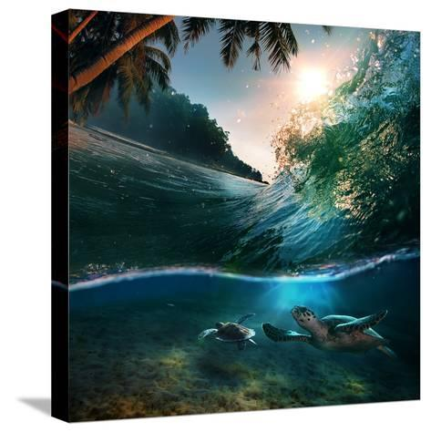 Tropical Paradise Template with Sunlight. Ocean Surfing Wave Breaking and Two Big Green Turtles Div-Willyam Bradberry-Stretched Canvas Print