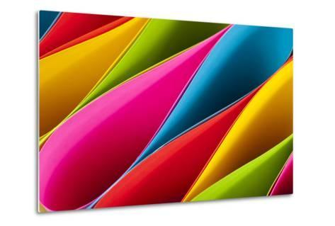 Colorful Card Stock in Unique Elliptical Shapes with Shadow Effect and Selective Focus on a Black B-Fotoluminate LLC-Metal Print