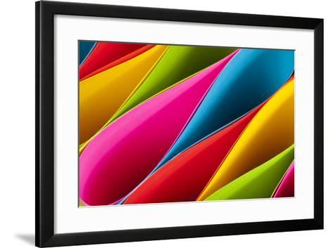 Colorful Card Stock in Unique Elliptical Shapes with Shadow Effect and Selective Focus on a Black B-Fotoluminate LLC-Framed Art Print