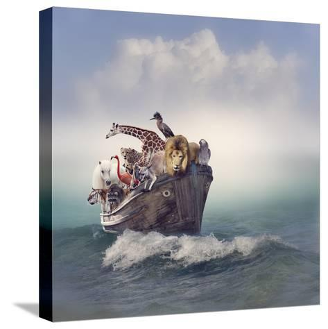 Wild Animals and Birds in an Old Boat-Svetlana Foote-Stretched Canvas Print