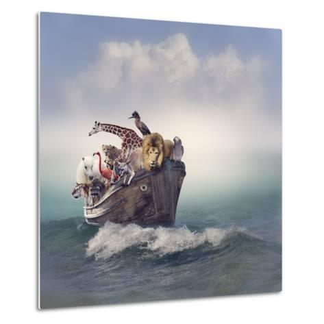 Wild Animals and Birds in an Old Boat-Svetlana Foote-Metal Print